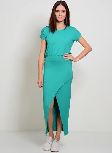 Limon Company Uzun Yırtmaçlı Elbise Yeşil
